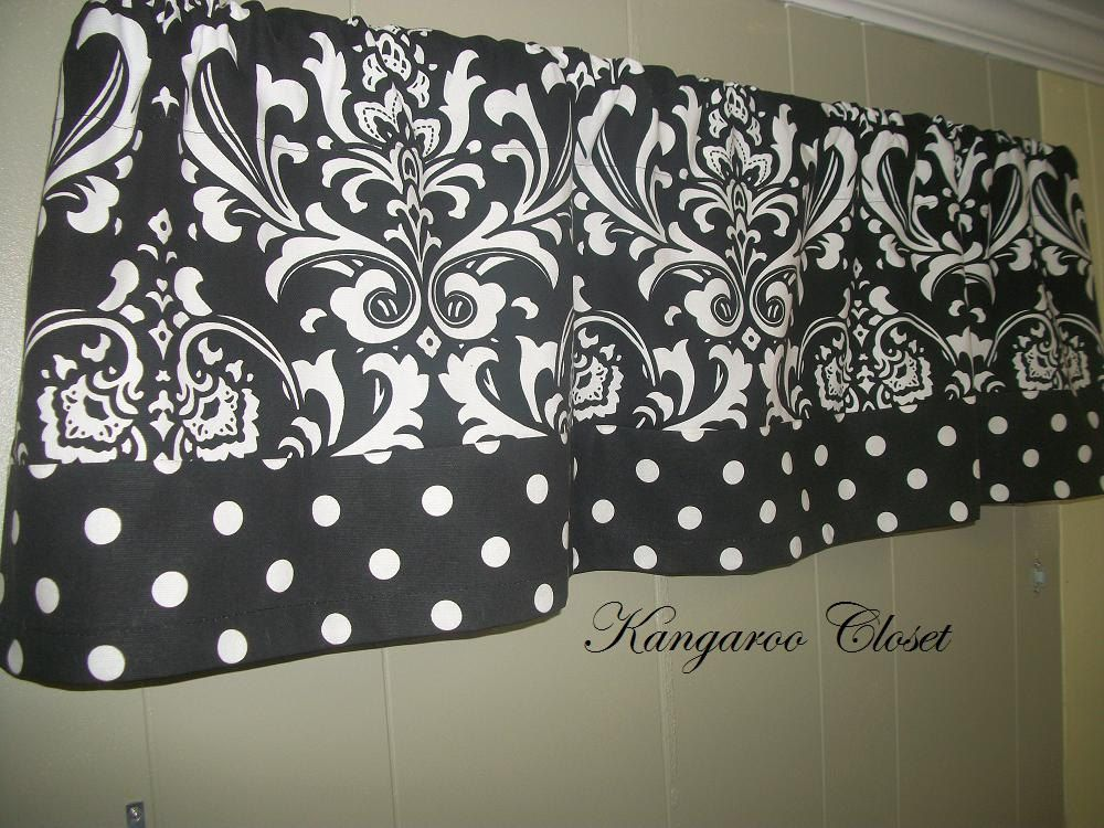 Black and White Damask-Pattern with Polka Dot Trim Valance Curtains One Valance.