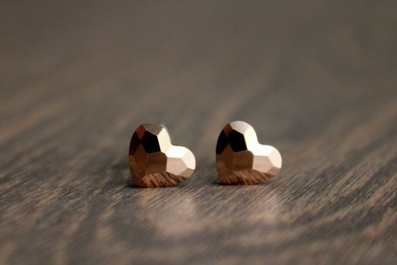 Rose Gold Heart Studs Surgical Steel Stud by TheMerryElephant