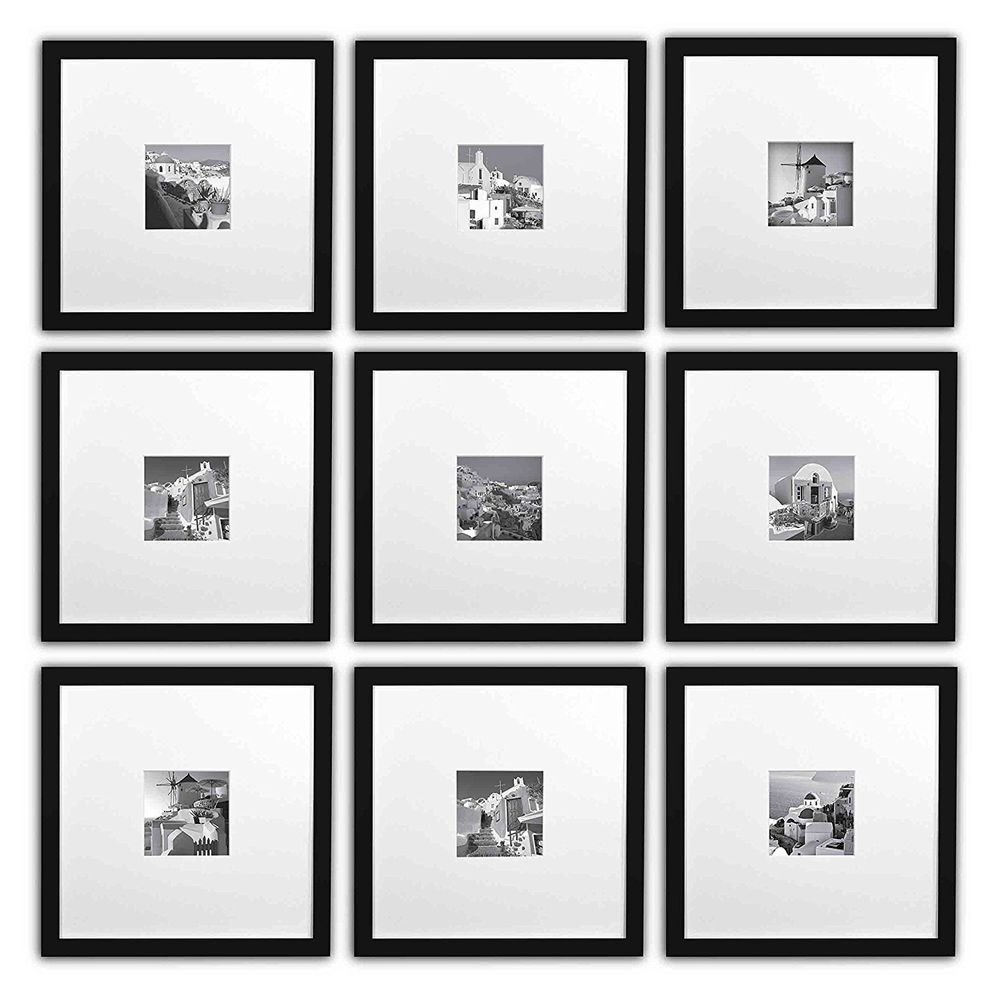 Instagram Frames Set Of 9 11x11 Square Photo Wood Frames For 4x4 Photo Black Goldenstateframing Picture Frame Designs Picture Frame Display Frame Collection