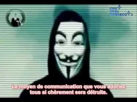 Anonymous message to Facebook