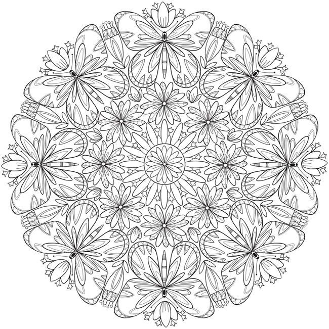 Free Butterfly Flower Mandala Printable Coloring Page From