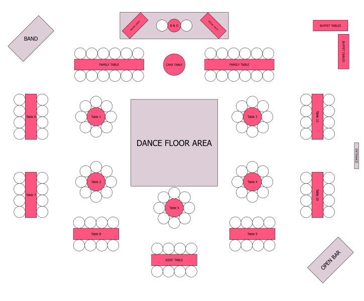 Reception seating kinda but with all round tables for the for Event floor plan layout