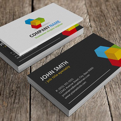 Modern Black And White With Colorful 3d Cube Logo Business Card Zazzle Com Business Card Branding Business Card Logo Printing Business Cards