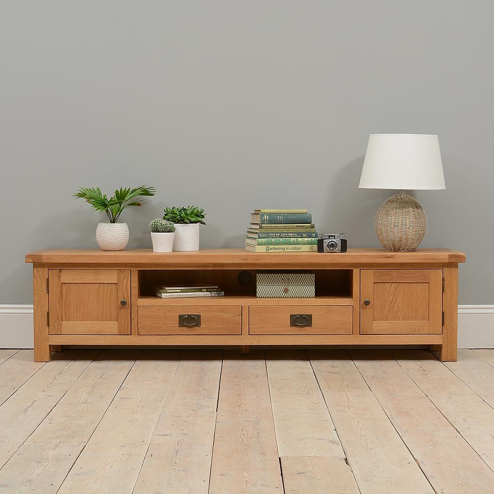 """Wooden Wall Units For Living Room: Lyon Oak Low Extra Wide TV Unit - Up To 84"""""""