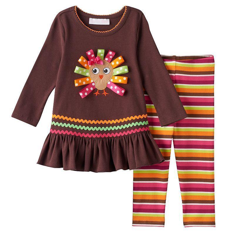 8da9fd0fb9a Baby Girl Bonnie Jean Thanksgiving Turkey Applique Top   Striped Leggings  Set