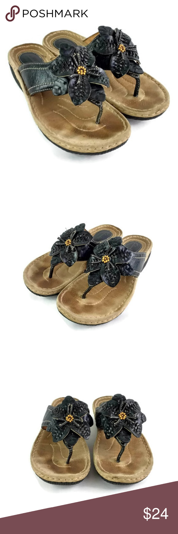 24a0af48442bfc Clarks Artisan Black Leather Flower Thong Sandals Clarks Artisan Women s  Sandals. Size 7 M. Black leather with flower on strap. Heel measures 1.5