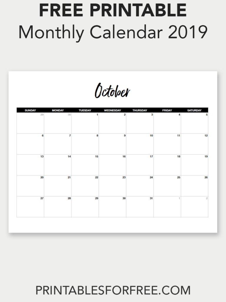 photograph relating to Www.printablecalendars.com � Www.freeprintable.net named Printable Oct 2019 Calendar (Very low Absolutely free Printable