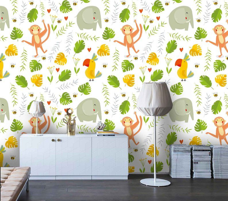 3d Kids Tropical Monkey Elephant Wallpaper Nursery Etsy Wallpaper Walls Decor Elephant Wallpaper Mural Wallpaper