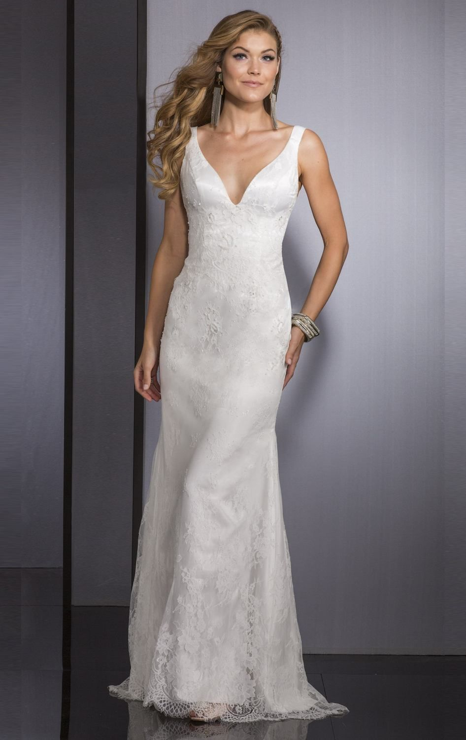 Lace offshoulder gown by clarisse lace wrap neckline and curves
