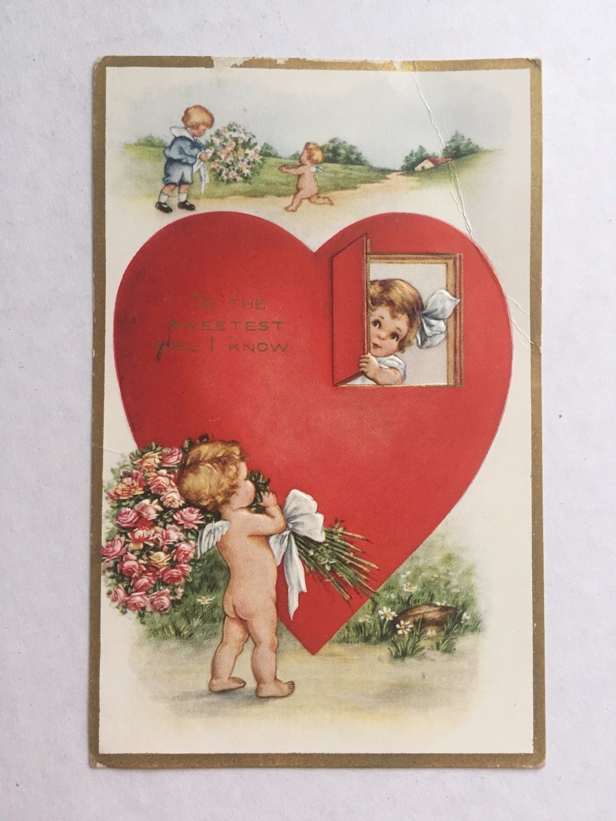 Photo of 1910s Valentine's Day Postcard Girl Peeking Out of Heart- Cupid Giving Roses #va …