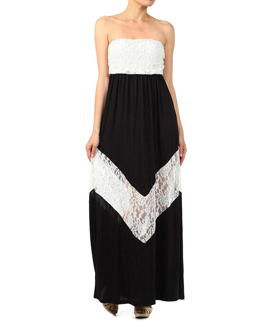 77f318f835b1 Look what I found on #zulily! Black & White Lace Strapless Maxi Dress -  Women by J-Mode USA Los Angeles #zulilyfinds