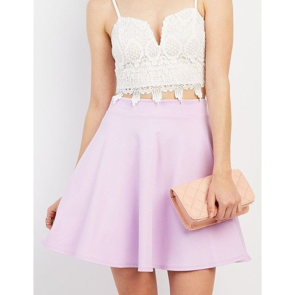 Charlotte Russe Ponte Knit Skater Skirt ($17) ❤ liked on Polyvore featuring skirts, lilac, pink skater skirt, flared skirt, charlotte russe skirts, circle skirt and lilac skirt
