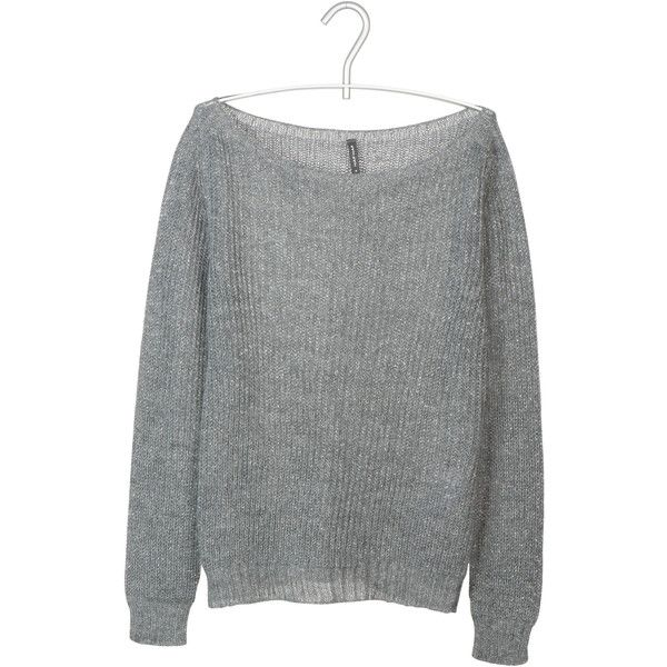 NAF NAF Pull maille ajourée Gris ($38) ❤ liked on Polyvore featuring tops, sweaters, gris fonce, naf naf, slimming tops and slim fit sweater