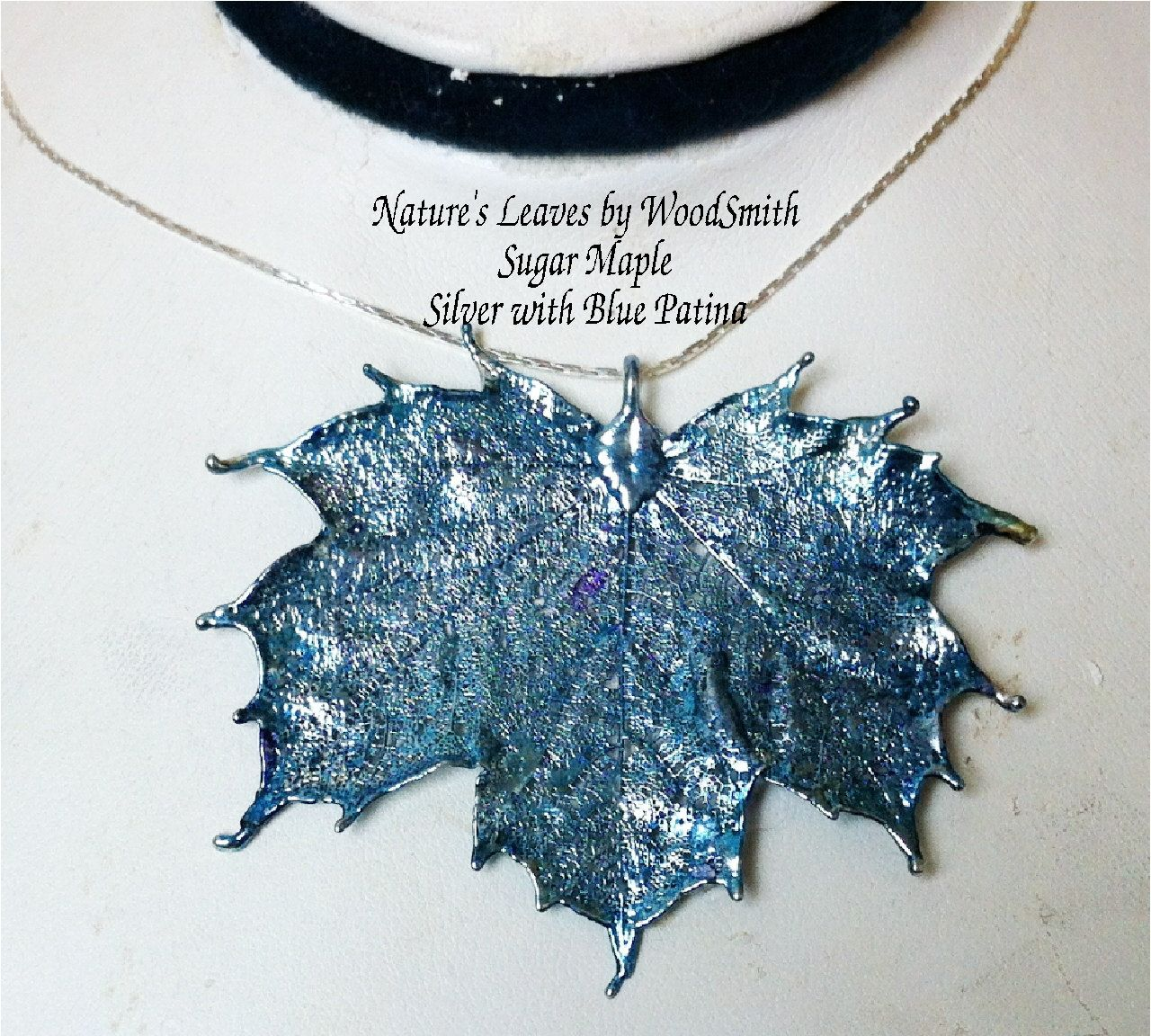Real Canadian Sugar Maple Leaf, Natures Leaves, NEW Blue Patina over sterling silver dipped leaf. $17.95, via Etsy.