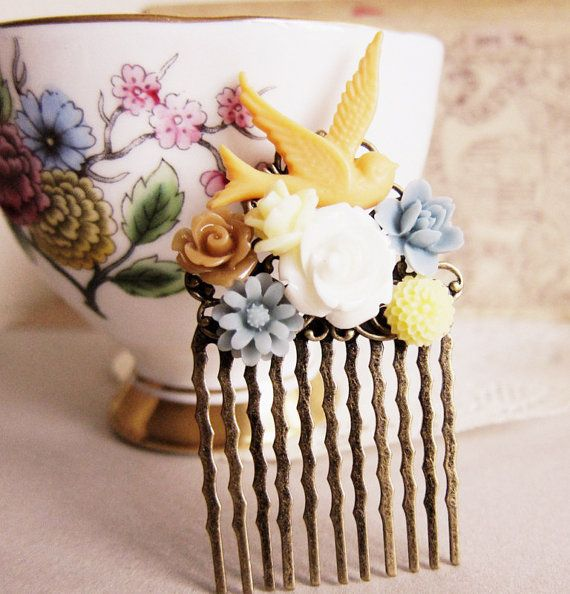 Peach Hair Comb Blue Floral Comb White Ivory Flower by Jewelsalem,   Your colors!