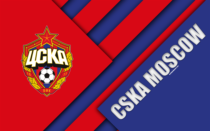 Download Wallpapers CSKA Moscow FC, 4k, Material Design