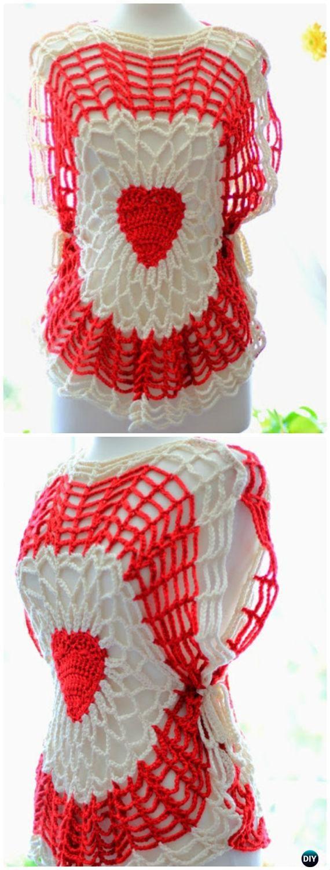 Crochet Red Heart Lighthearted Tunic Free Pattern - #Crochet ...