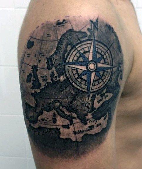 #Tattoos,compass tattoo arm design