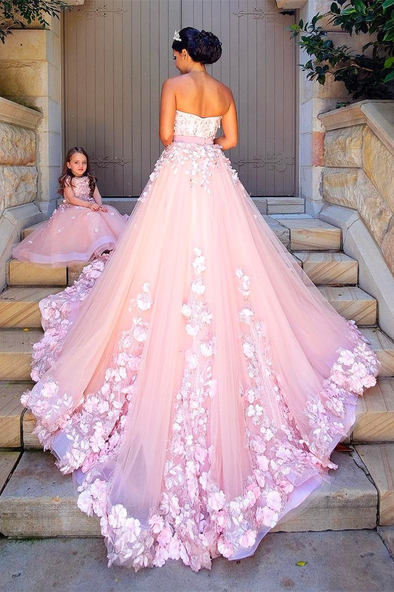 A-Line Round Neck Pink Tulle Flower Girl Dress with Appliques ...