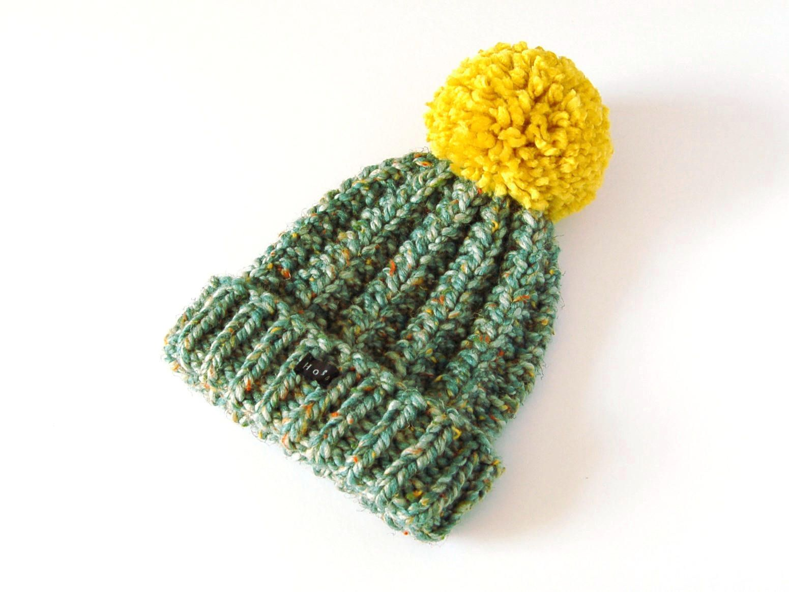 287e449d3 Thick chunky hand knitted beanie with extra large mustard yellow pom ...