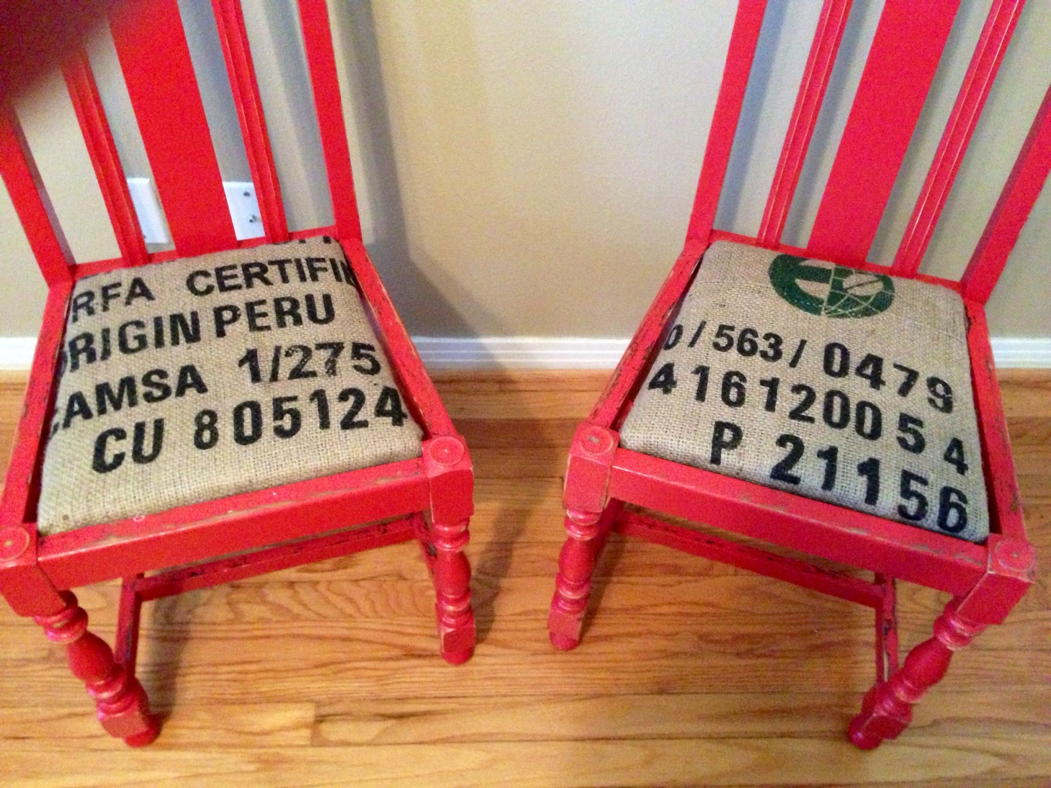 Vintage Chairs Painted Red, Aged And Seat Cushions Covered With Burlap  Coffee Bag Fabric.
