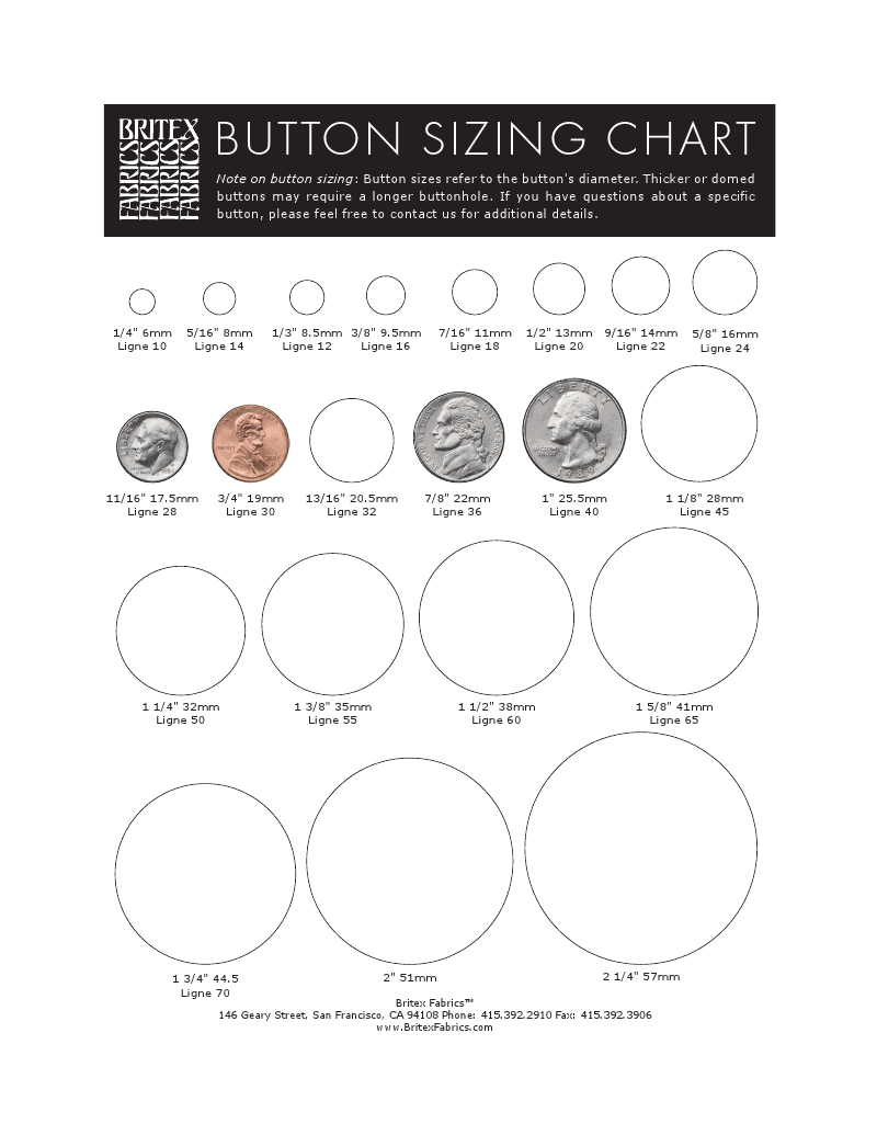 Britex Button Size Chart  Sewing    Chart Crochet