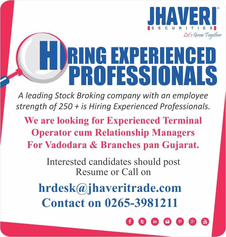 Job opening at jhaveri securities ltd interested
