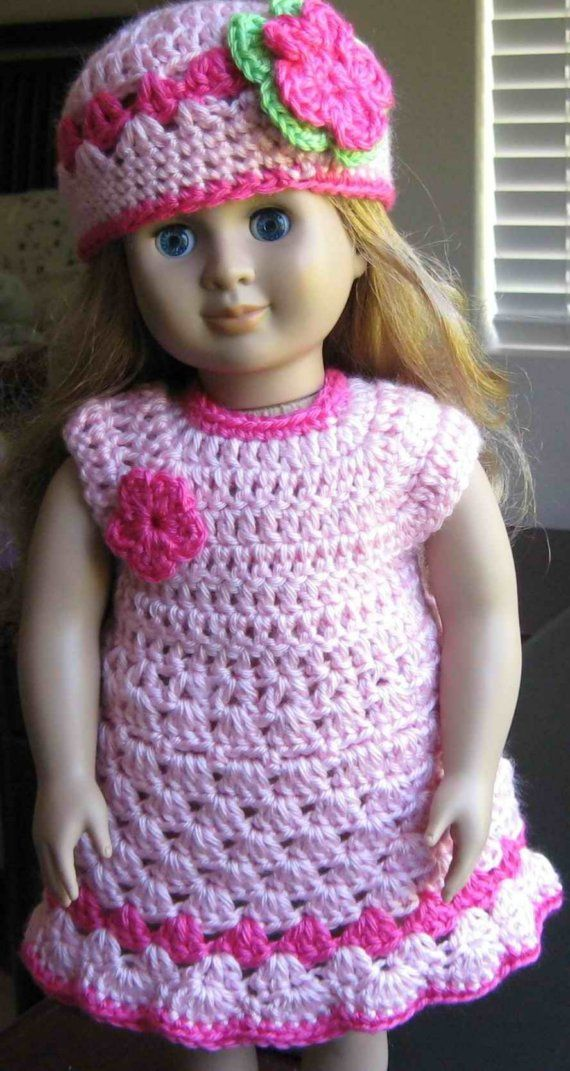 Items similar to PATTERN -- Crocheted doll dress for American Girl, Gotz or similar 18 inches dolls -- Doll Dress 5 on Etsy #dolldresspatterns