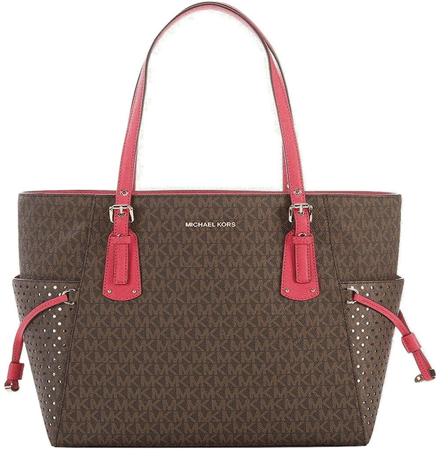 Michael Kors Jet Set Mk Monogram Brown Faux Leather Ns Travel Tote. Get one  of the hottest styles of the season! The Mic…  ffb6cec091d