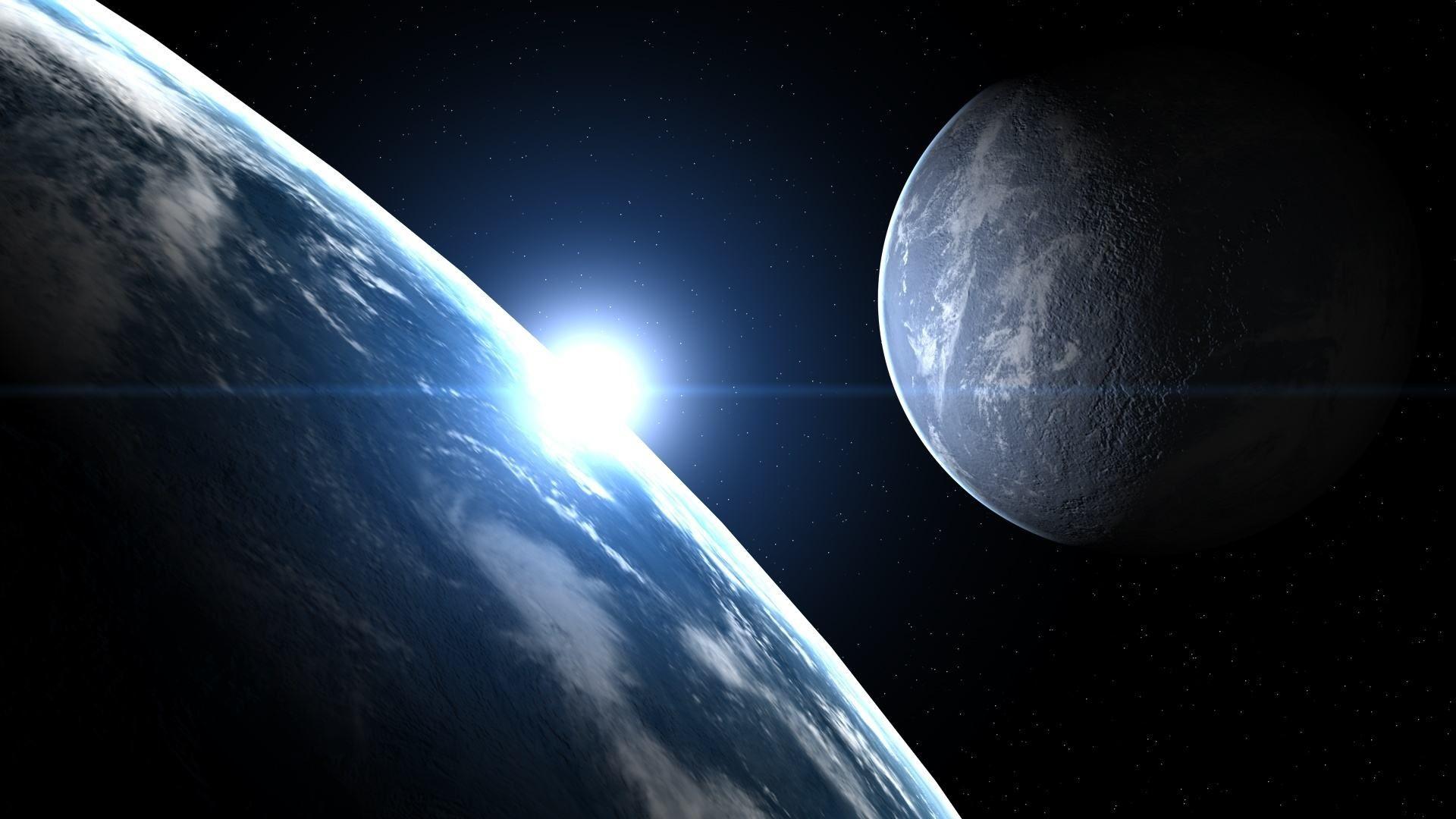 красивое фото с космоса земли и луны зрелище, которое