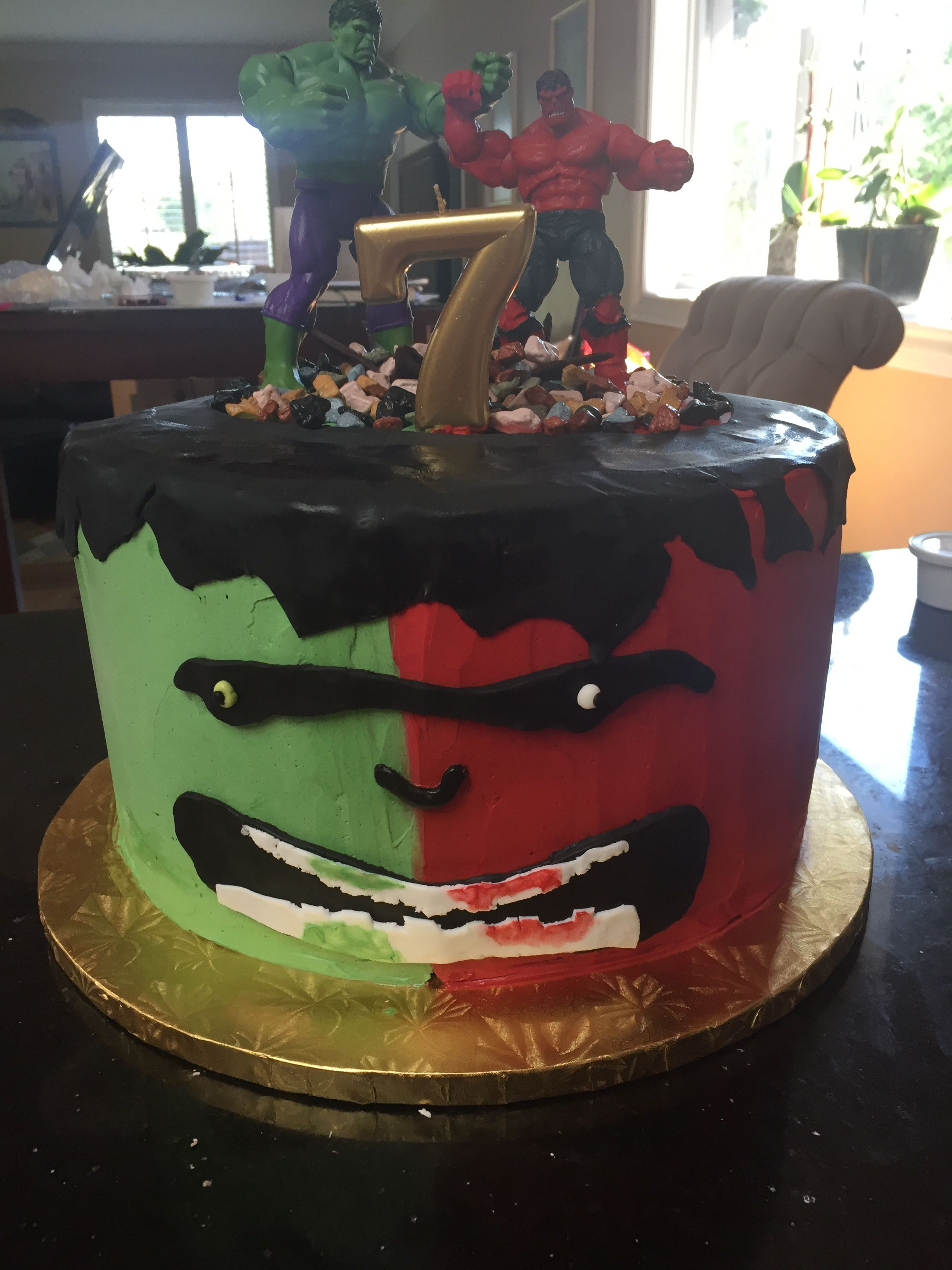 Green and Red Hulk Birthday cake for my grandson Best cakes