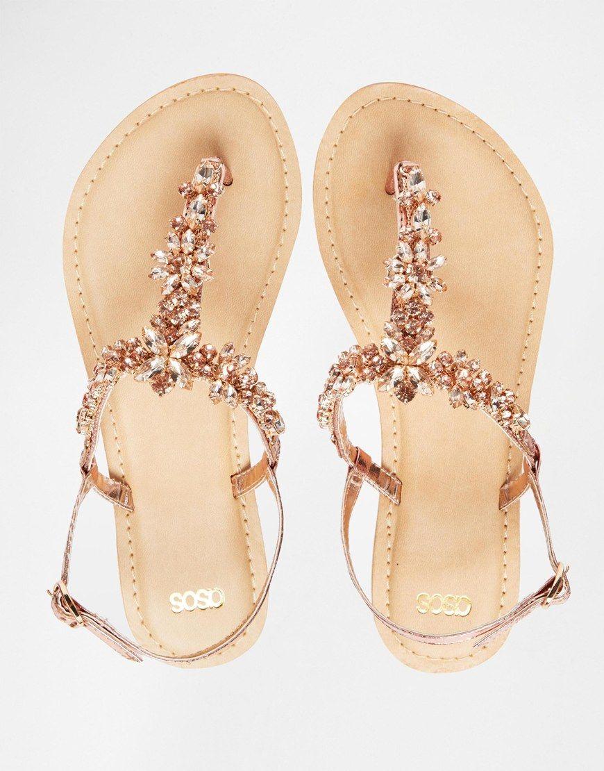 9edb9d3d4 Image 4 of ASOS FIJI Wide Fit Embellished Leather Flat Sandals ...