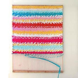 How to build a simple DIY loom & weave a fabric t-shirt rag rug. Beautiful in any home from farmhouse to boho! Detailed tutorial & step by step photos. - A Piece of Rainbow #upcycle #upcycling #recycle #recycling #craft #crafting #weave #weaving #diy #homedecor #homedecorideas #bohemian #bohemiandecor #bohochic #bedroom #livingroom #livingroomideas #bathroom #bathroomideas #rug