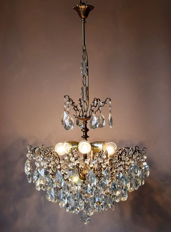 FREE EXPRESS DELIVERY Opulent Lustre Antique French Vintage Crystal Chandelier Lamp Old Art Nouveau Lighting Classic Light Fitting