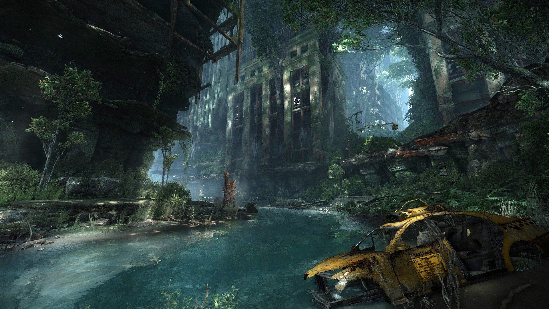 Water video games Crysis destroyed abandoned city
