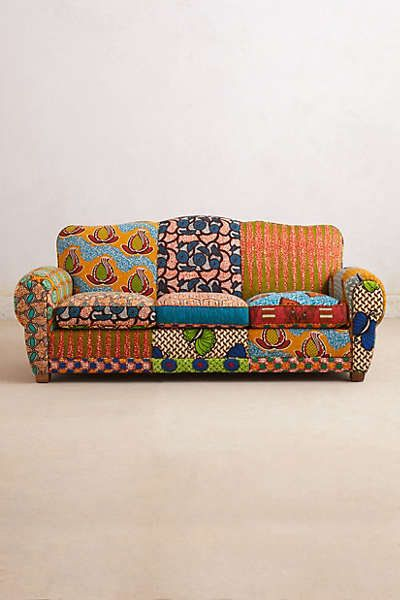 Anthropologie Franco Dutch Wax Sofa From Anthropologie Patchwork Furniture Printed Fabric Sofa African Furniture