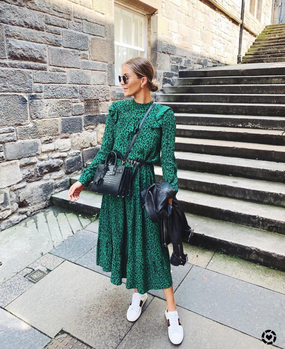Dress Midi Dress Green Dress Leopard Print Long Sleeve Dress White Sneakers Black Bag Black Leather Jacket Midi Dress Outfit Fashion Midi Dress Casual [ 1200 x 980 Pixel ]