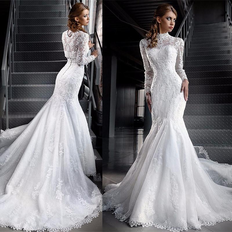 Modest Muslim Lace Wedding Dresses Illusion Long Sleeve