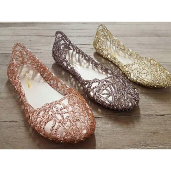 HOST PICK ✨Jelly Flats✨ Super comfortable and stylish! Now available in 3  colors Rose Gold, Pewter and Clear. Woman sizes 6-10.