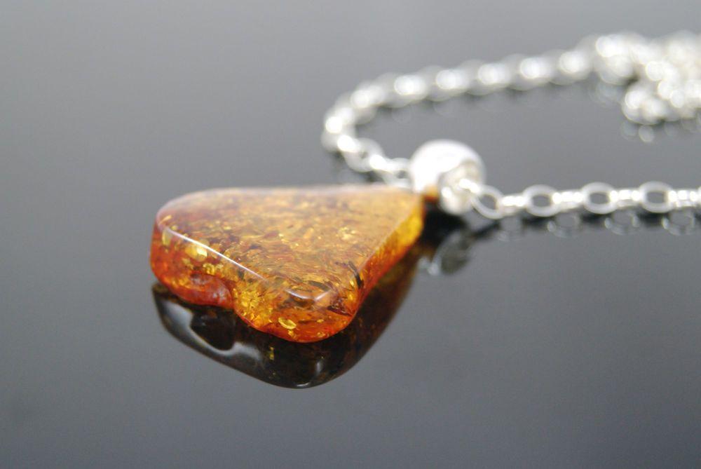 Pendant with genuine Baltic amber 925 silver chain *unique piece*
