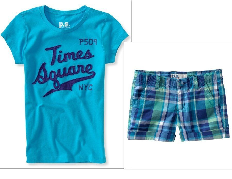 NWT PS Aeropostale Kids Girls Size 7 Plaid Shorts /& NYC Tee Shirt Top 2-PC SET