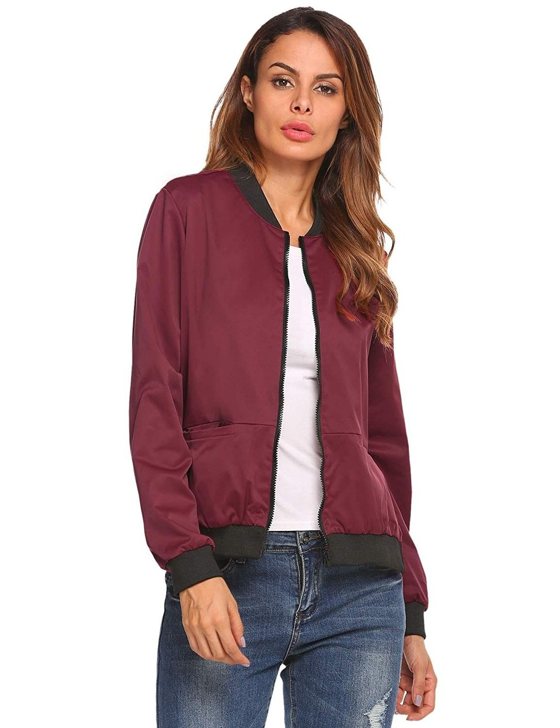 13075f455 Women's Casual Velvet Long Sleeve Zip Up Quilted Short Bomber Jacket ...