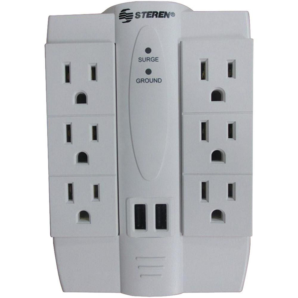 Steren 6 Outlet Swivel Surge Protector With 2 Usb Ports Usb Surveillance System Ac Power