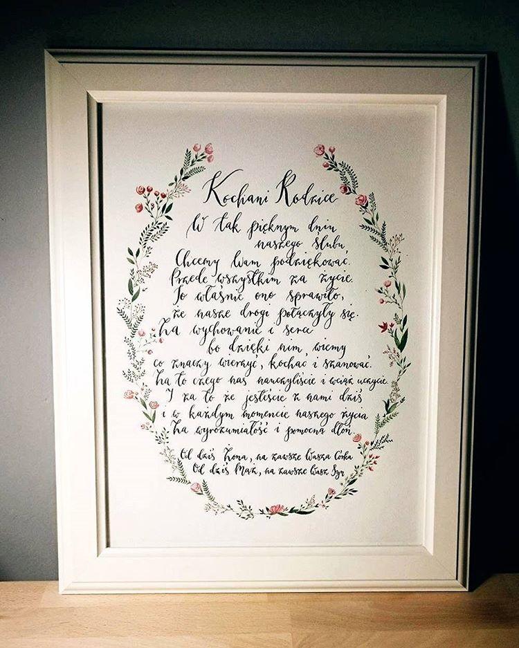 Podziękowanie Dla Rodziców Kaligrafia Calligraphylove