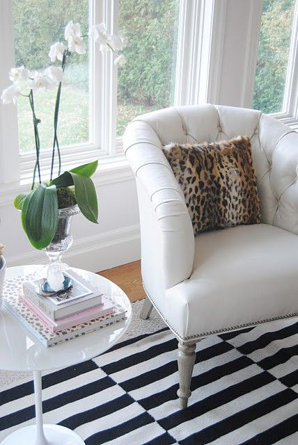 White Chair Orchid Black And White Stripe Rug Leopard