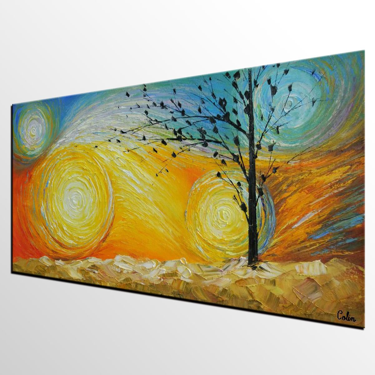 Lots of Texture, Oil Painting Tree of Life Painting Abstract Canvas ...