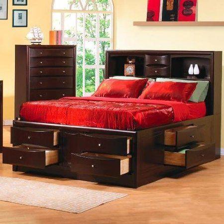 Amazon Com Phoenix Queen Bed Storage By Coaster Furniture