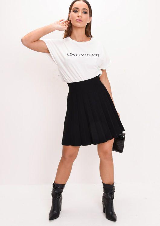 96d74e2459ec Pleated Knit Mini Skater Skirt Black in 2019 | Health, Beauty and ...