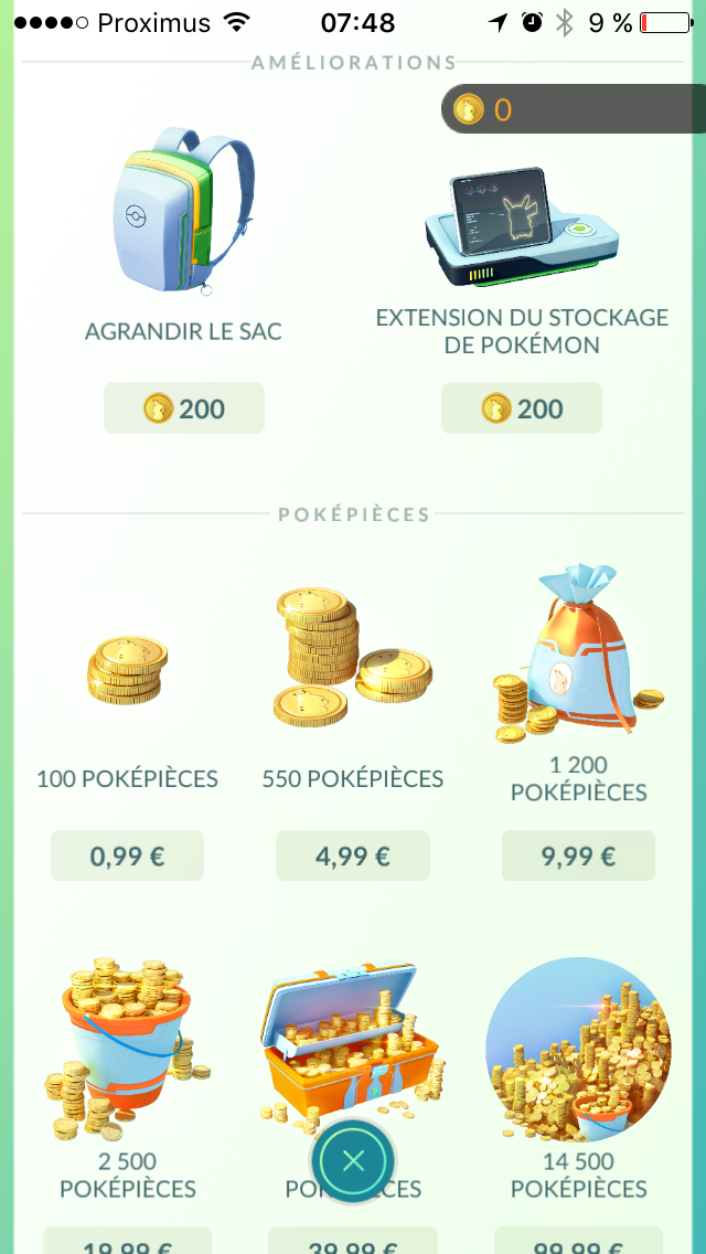 Pokémon GO Shop | mobile game | coins balance | shop games