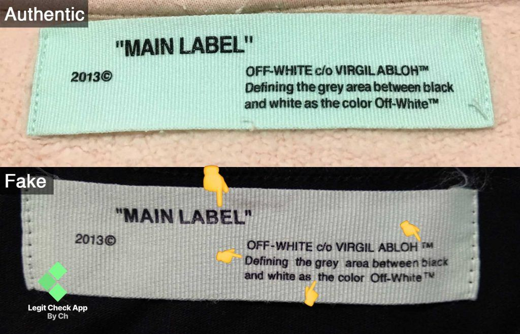 Legit Check Method 3 Main Label Text Print Quality Labels Off White Off White Clothing